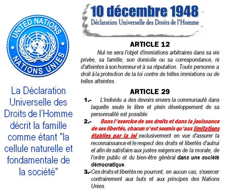 droits homme 1948 art 12 et 29